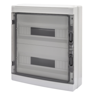 DISTRIBUTION BOARD WITH PANELS WITH WINDOW AND EXTRACTABLE FRAME - WITH TERMINAL BLOCK N (3X16)+(17X10) E (3X16)+(17X10) - (18X2) 36M IP65