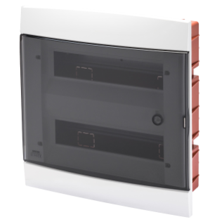 DECORATIVE ENCLOSURE - FLUSH MOUNTING - PRE-ARRANGED FOR HOUSING TERMINAL BLOCKS - 330X338X28 - MILK WHITE - 24 +2 (12x2) MODULES