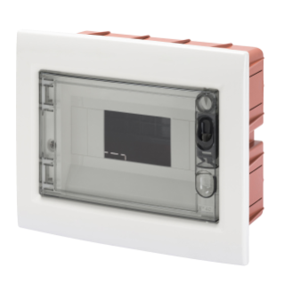 FLUSH-MOUNTING ENCLOSURE WITH SMOKED TRANSPARENT DOOR WITH EXTRACTABLE FRAME - WITH TERMINAL BLOCK N (2X16)+(7X10) E (2X16)+(7X10) - 8 MODULES IP40