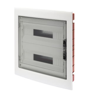 DISTRIBUTION BOARD - PANEL WITH WINDOW AND EXTRACTABLE FRAME - SMOKED DOOR - TERMINAL BLOCK N (3X16)+(17X10) E (3X16)+(17X10) - (18X2) 36M-IP40