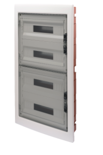 DISTRIBUTION BOARD - PANEL WITH WINDOW AND EXTRACTABLE FRAME - SMOKED DOOR - TERMINAL BLOCK N 4X[(3X16)+(17X10)] E 4X[(3X16)+(17X10)]-(18X4) 72M-IP40