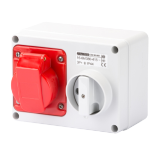 FIXED INTERLOCKED HORIZONTAL SOCKET-OUTLET - WITH BOTTOM - WITHOUT FUSE-HOLDER BASE - 3P+E 16A 380-415V - 50/60HZ 6H - IP44
