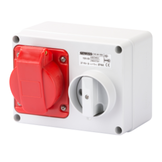 FIXED INTERLOCKED HORIZONTAL SOCKET-OUTLET - WITH BOTTOM - WITHOUT FUSE-HOLDER BASE - 3P+N+E 16A 346-415V - 50/60HZ 6H - IP44