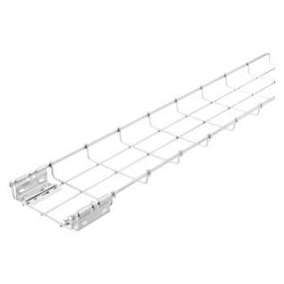 GALVANIZED WIRE MESH CABLE TRAY BFR30 - PRE-MOUNTED COUPLERS - LENGTH 3 METERS - WIDTH 100MM - FINISHING: Z100