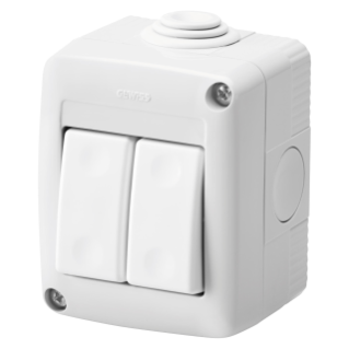 PROTECTED ENCLOSURE COMPLETE WITH SYSTEM DEVICES - WITH TWO-WAY SWITCH+TWO-WAY SWITCH 1P 16 AX - IP40 - RGREY RAL 7035
