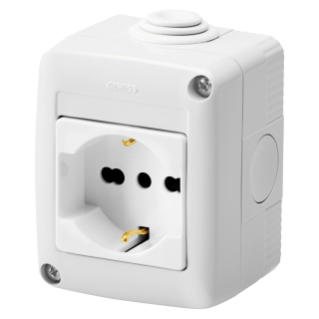 PROTECTED ENCLOSURE COMPLETE WITH SYSTEM DEVICES - WITH SOCKET-OUTLET 2P+E 16 A DUAL AMPERAGE - ITALIAN/GERMAN STANDARD - IP40 - GREY RAL 7035