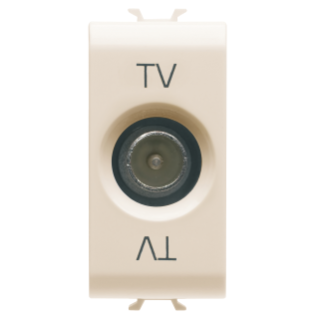 COAXIAL TV SOCKET-OUTLET, CLASS A SHIELDING - IEC MALE CONNECTOR 9,5mm - DIRECT WITH CURRENT PASSING - 1 MODULE - IVORY - CHORUS