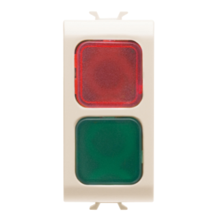 DOUBLE INDICATOR LAMP - RED/GREEN - 1 MODULE - IVORY - CHORUS