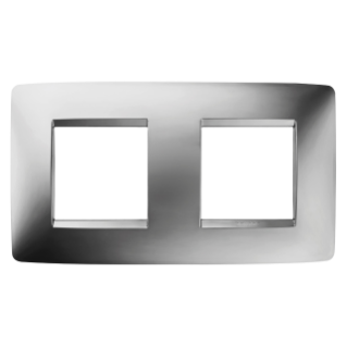 ONE INTERNATIONAL PLATE - IN METALLISED TECHNOPOLYMER - 2+2 GANG HORIZONTAL - CHROME - CHORUS