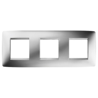 ONE INTERNATIONAL PLATE - IN METALLISED TECHNOPOLYMER - 2+2+2 GANG HORIZONTAL - CHROME - CHORUS