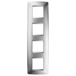 ONE INTERNATIONAL PLATE - IN METALLISED TECHNOPOLYMER - 2+2+2+2 GANG VERTICAL - CHROME - CHORUS