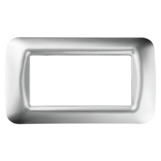 TOP SYSTEM PLATE - IN TECHNOPOLYMER GLOSS FINISH - 4 GANG - SOFT CHROME - SYSTEM
