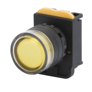MOMENTARY PUSH-BUTTON WITH ROUND GUARD - LUMINOSO - YELLOW