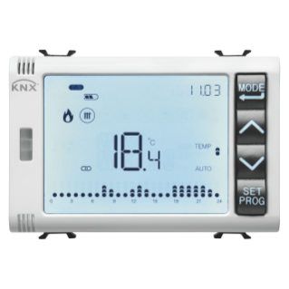 TIMED THERMOSTAT/PROGRAMMER WITH HUMIDITY MANAGEMENT - KNX - 3 MODULES - WHITE - CHORUS