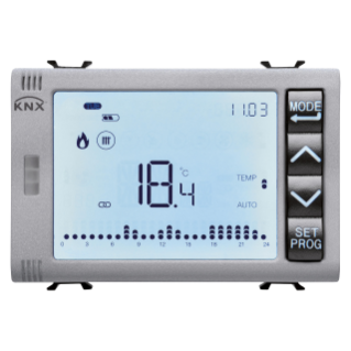 TIMED THERMOSTAT/PROGRAMMER WITH HUMIDITY MANAGEMENT - KNX - 3 MODULES - TITANIUM - CHORUS