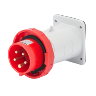 STRAIGHT FLUSH MOUNTING INLET - IP67 - 3P+N+E 16A 380-415V 50/60HZ - RED - 6H - SCREW WIRING