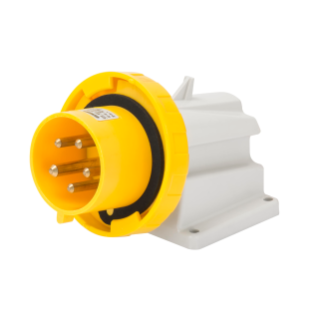 90° ANGLED SURFACE MOUNTING INLET - IP67 - 3P+N+E 32A 100-130V 50/60HZ - YELLOW - 4H - SCREW WIRING