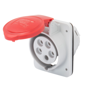 10° ANGLED FLUSH-MOUNTING SOCKET-OUTLET HP - IP44/IP54 - 3P+N+E 32A 380-415V 50/60HZ - RED - 6H - SCREW WIRING