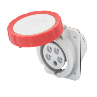 10° ANGLED FLUSH-MOUNTING SOCKET-OUTLET HP - IP66/IP67 - 3P+N+E 16A 380V/440V 50HZ/60HZ - RED - 3H - SCREW WIRING
