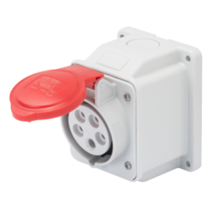 10° ANGLED SURFACE-MOUNTING SOCKET-OUTLET - IP44 - 3P+N+E 32A 380-415V 50/60HZ - RED - 6H - SCREW WIRING