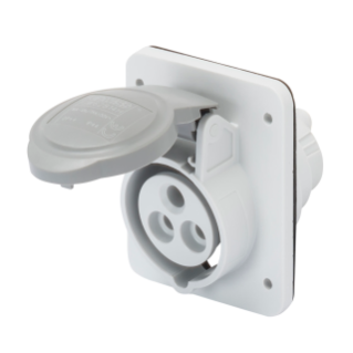 10° ANGLED FLUSH-MOUNTING SOCKET-OUTLET HP - IP44/IP54 - 2P+E 16A >50-250V d.c. - GREY - 3H - SCREW WIRING
