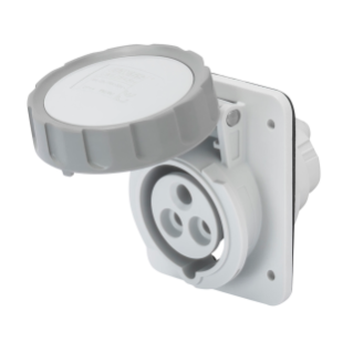 10° ANGLED FLUSH-MOUNTING SOCKET-OUTLET HP - IP66/IP67 - 2P+E 16A TRANSFORMER 50/60HZ - GREY - 12H - SCREW WIRING