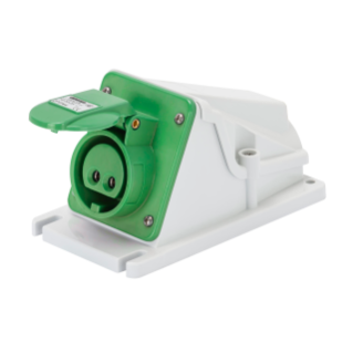90° ANGLED SURFACE-MOUNTING SOCKET-OUTLET - IP44 - 3P 16A 20-25V and 40-50V 401-500HZ - GREEN - 11H - SCREW WIRING