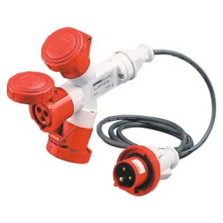 MULTIPLE SOCKET-COUPLERS 3 OUTPUTS IP67 - 2M FLEXIBLE CABLE - PLUG 16A - 2 SOCKET-OUTLETS 3P+N+E 400V 50/60HZ - RED - 6H