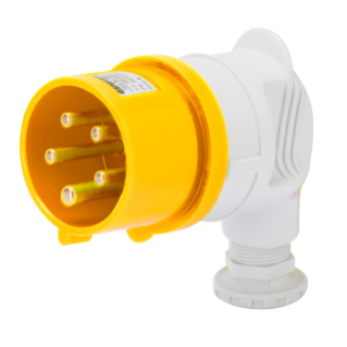 90° PLUG - IP44 - 2P+E 32A 100-130V 50/60HZ - YELLOW - 4H - SCREW WIRING