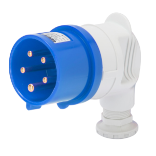 90° PLUG - IP44 - 3P+N+E 32A 200-250V 50/60HZ - BLUE - 9H - SCREW WIRING