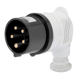90° PLUG - IP44 - 3P+N+E 16A 480-500V 50/60HZ - BLACK - 7H - SCREW WIRING