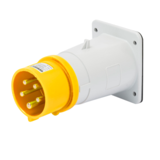 STRAIGHT FLUSH MOUNTING INLET - IP44 - 3P+E 32A 100-130V 50/60HZ - YELLOW - 4H - SCREW WIRING