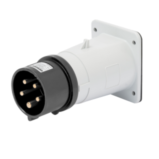 STRAIGHT FLUSH MOUNTING INLET - IP44 - 3P+N+E 16A 480-500V 50/60HZ - BLACK - 7H - SCREW WIRING