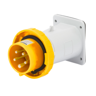 STRAIGHT FLUSH MOUNTING INLET - IP67 - 3P+N+E 32A 100-130V 50/60HZ - YELLOW - 4H - SCREW WIRING