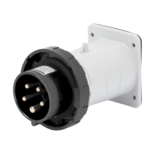STRAIGHT FLUSH MOUNTING INLET - IP67 - 3P+E 16A 480-500V 50/60HZ - BLACK - 7H - SCREW WIRING