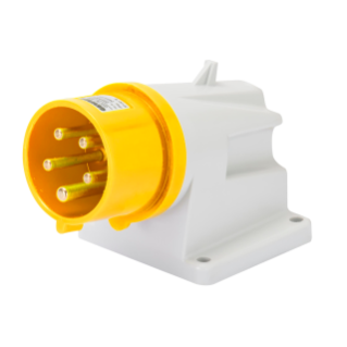 90° ANGLED SURFACE MOUNTING INLET - IP44 - 2P+E 16A 100-130V 50/60HZ - YELLOW - 4H - SCREW WIRING