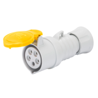 STRAIGHT CONNECTOR HP - IP44/IP54 - 3P+E 16A 100-130V 50/60HZ - YELLOW - 4H - SCREW WIRING