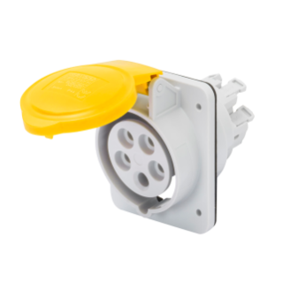 10° ANGLED FLUSH-MOUNTING SOCKET-OUTLET HP - IP44/IP54 - 3P+E 16A 100-130V 50/60HZ - YELLOW - 4H - FAST WIRING