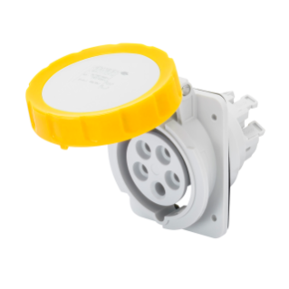 10° ANGLED FLUSH-MOUNTING SOCKET-OUTLET HP - IP66/IP67 - 3P+E 16A 100-130V 50/60HZ - YELLOW - 4H - FAST WIRING