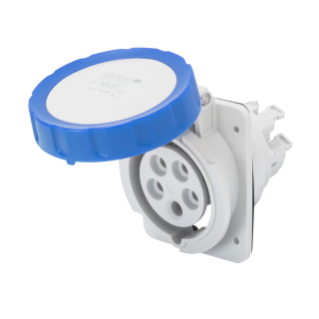 10° ANGLED FLUSH-MOUNTING SOCKET-OUTLET HP - IP66/IP67 - 2P+E 32A 200-250V 50/60HZ - BLUE - 6H - FAST WIRING