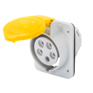 10° ANGLED FLUSH-MOUNTING SOCKET-OUTLET HP - IP44/IP54 - 3P+E 32A 100-130V 50/60HZ - YELLOW - 4H - SCREW WIRING