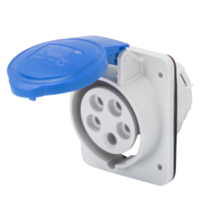 10° ANGLED FLUSH-MOUNTING SOCKET-OUTLET HP - IP44/IP54 - 3P+N+E 16A 200-250V 50/60HZ - BLUE - 9H - SCREW WIRING