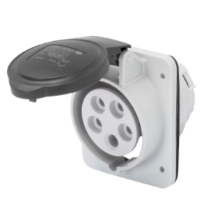 10° ANGLED FLUSH-MOUNTING SOCKET-OUTLET HP - IP44/IP54 - 2P+E 16A 480-500V 50/60HZ - BLACK - 7H - SCREW WIRING