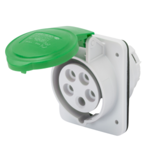 10° ANGLED FLUSH-MOUNTING SOCKET-OUTLET HP - IP44/IP54 - 3P+N+E 16A >50V >300-500HZ - GREEN - 2H - SCREW WIRING