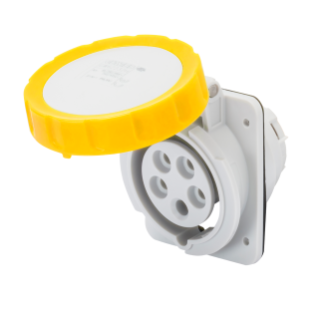 10° ANGLED FLUSH-MOUNTING SOCKET-OUTLET HP - IP66/IP67 - 3P+N+E 32A 100-130V 50/60HZ - YELLOW - 4H - SCREW WIRING
