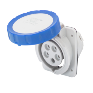 10° ANGLED FLUSH-MOUNTING SOCKET-OUTLET HP - IP66/IP67 - 3P+E 32A 200-250V 50/60HZ - BLUE - 9H - SCREW WIRING