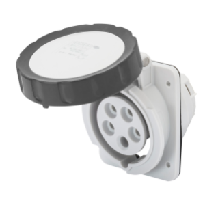 10° ANGLED FLUSH-MOUNTING SOCKET-OUTLET HP - IP66/IP67 - 3P+N+E 16A 480-500V 50/60HZ - BLACK - 7H - SCREW WIRING