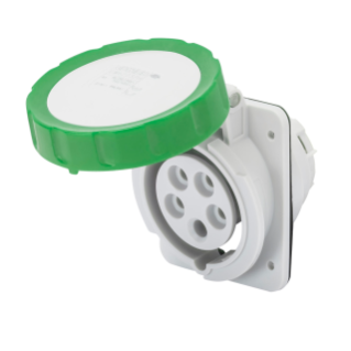 10� ANGLED FLUSH-MOUNTING SOCKET-OUTLET HP - IP66/IP67 - 2P+E 32A >50V >300-500HZ - GREEN - 2H - SCREW WIRING