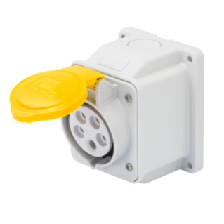 10° ANGLED SURFACE-MOUNTING SOCKET-OUTLET - IP44 - 3P+E 16A 100-130V 50/60HZ - YELLOW - 4H - SCREW WIRING