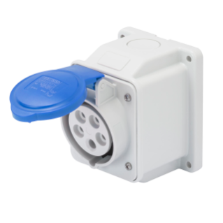 10° ANGLED SURFACE-MOUNTING SOCKET-OUTLET - IP44 - 3P+N+E 16A 200-250V 50/60HZ - BLUE - 9H - SCREW WIRING